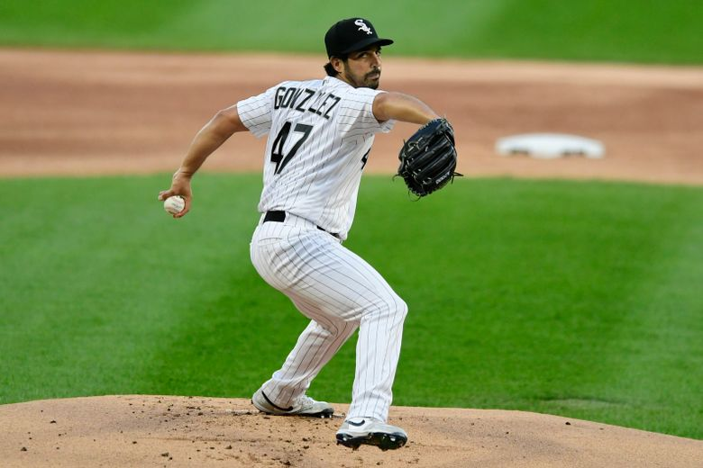 FILE – Chicago White Sox starter Gio Gonzalez delivers a pitch during the first inning of a baseball game against the Detroit Tigers in Chicago, in this Monday, Aug. 17, 2020, file photo. Veteran left-hander Gio Gonzalez agreed to terms on a minor league contract with the Miami Marlins and will take part in their major league camp.(AP Photo/Paul Beaty, File)