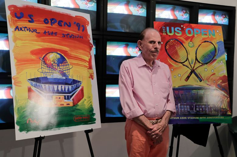 FILE – In this Wednesday June 14, 2017, file photo is artist Peter Max at the unveiling of art he created for the 2017 U.S. Open tennis tournament in New York. A New Jersey appeals court has ruled against Max in a dispute over millions of dollars' worth of his works that were damaged in a warehouse during Superstorm Sandy. (AP Photo/Julie Jacobson, File)
