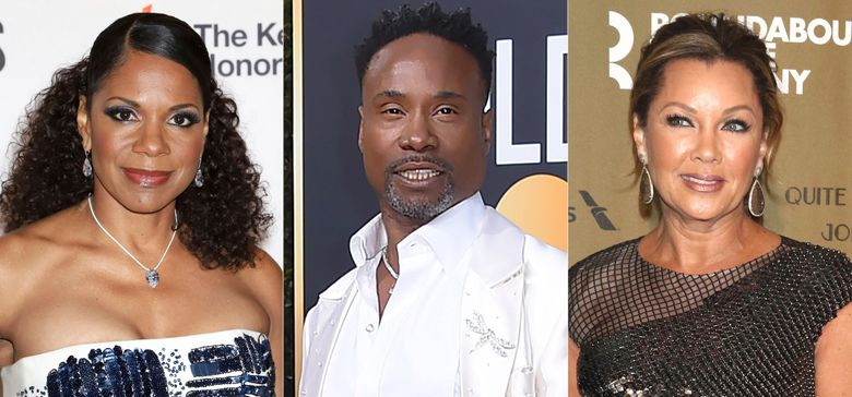 """Audra McDonald attends the 42nd Annual Kennedy Center Honors in Washington on Dec. 8, 2019, from left, Billy Porter arrives at the 77th annual Golden Globe Awards in Beverly Hills, Calif. on Jan. 5, 2020, and Vanessa Williams attends the Roundabout Theatre Company's 2019 Gala, """"Quite the Character: An Evening Celebrating John Lithgow"""" in New York on Feb. 25, 2019. Williams, Porter, McDonald and other founding members of Black Theatre United have recorded the song and video """"Stand for Change,"""" with all proceeds donated to social justice efforts. (AP Photo)"""