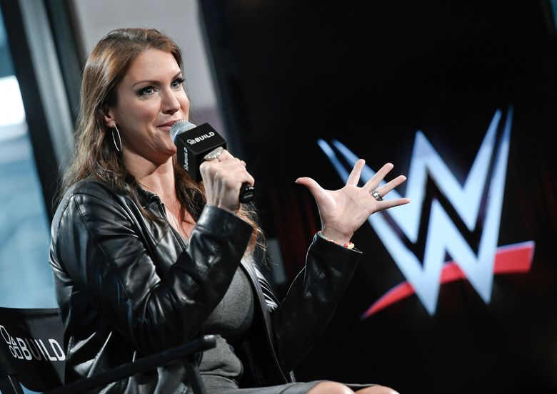 """FILE – In this Friday, Oct. 16, 2015, file photo, American businesswoman Stephanie McMahon participates in AOL's BUILD Speaker Series at AOL Studios in New York. World Wrestling Entertainment is used to making headlines this time of year leading up to WrestleMania. But the company has more on its plate leading up to its showcase event on April 10 and 11, 2021. """"Bringing back fans was needed, and we've been able to try things out that we have thought about but not had the chance,"""" WWE chief brand officer McMahon said. (Photo by Evan Agostini/Invision/AP, File)"""