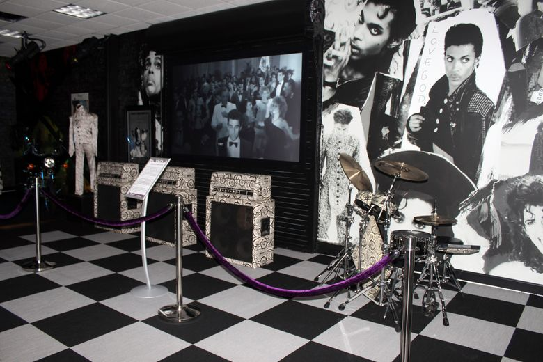 FILE – Amplifiers and a drum kit are on display at Prince's Paisley Park on Nov. 2, 2016, in Chanhassen, Minn. Paisley Park officials are marking the fifth anniversary of Prince's death by offering fans free admission to pay their respects in the suburban Minnesota compound, where his ashes will be on display in the atrium. (AP Photo/Jeff Baenen, File)