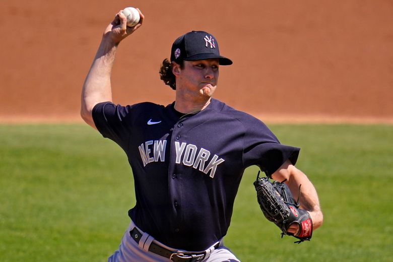 New York Yankees starting pitcher Gerrit Cole delivers during the third inning of a spring training exhibition baseball game against the Philadelphia Phillies in Clearwater, Fla., Thursday, March 11, 2021. (AP Photo/Gene J. Puskar)