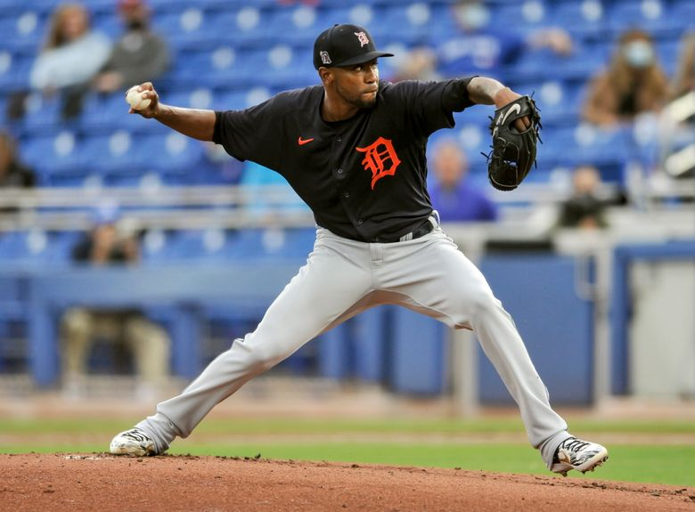 Detroit Tigers starter Julio Teheran pitches during the first inning of the team's spring training baseball game against the Toronto Blue Jays in Dunedin, Fla., Monday, March 22, 2021. (Steve Nesius/The Canadian Press via AP)