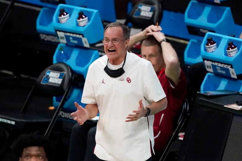 Oklahoma head coach Lon Kruger reacts during the first half of a first-round game against Missouri in the NCAA men's college basketball tournament at Lucas Oil Stadium, Saturday, March 20, 2021, in Indianapolis. (AP Photo/Darron Cummings)