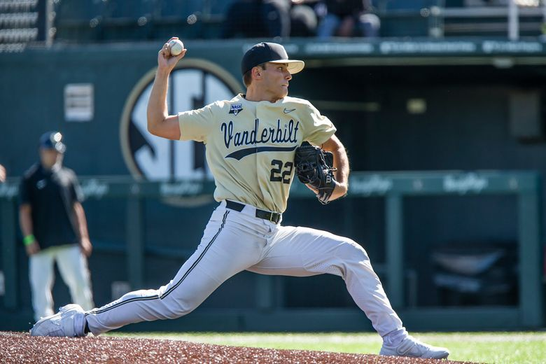 ,Vanderbilt pitcher Jack Leiter throws during an NCAA college baseball game Oct. 17, 2020, in Nashville, Tenn. Vanderbilt returns most of its everyday lineup, features the top two pitchers in college baseball and won the most recent national championship. Still, the Commodores aren't even regarded as the team to beat in the Southeastern Conference, let alone the nation, not with Florida's roster overflowing with talent at nearly every position. (Joe Howell/Vanderbilt University Athletics via AP)