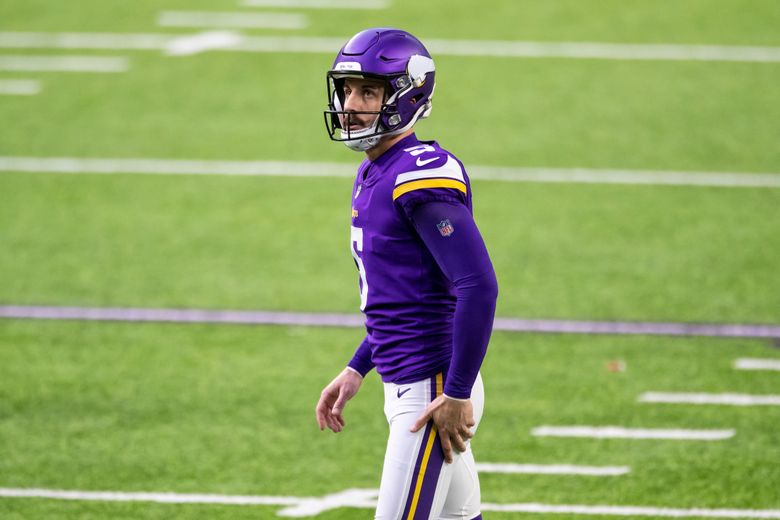 Minnesota Vikings kicker Dan Bailey (5) looks on before a field goal attempt in the third quarter of an NFL football game against the Chicago Bears, Sunday, Dec. 20, 2020, in Minneapolis. The Vikings have released  Bailey, Tuesday, March 9, 2021, who struggled through the 2020 season. Bailey missed 10 kicks over the final five games. He spent three years with the Vikings, who recently signed a new kicker, Greg Joseph. (AP Photo/David Berding)