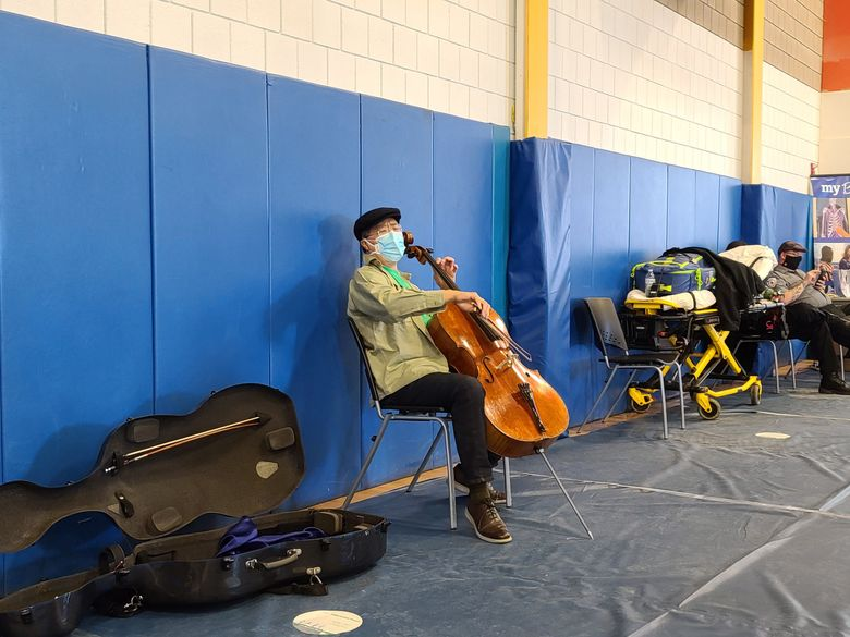 Yo-Yo Ma performs at a vaccination clinic at Berkshire Community College in Pittsfield, Mass., on March 13. (Berkshire Community College).