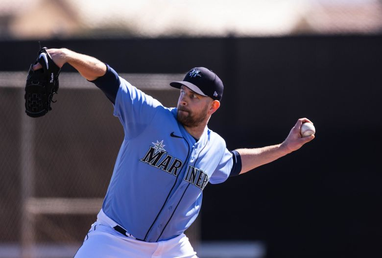 James Paxton throws to live hitters during Spring Training in Peoria, AZ. (Dean Rutz / The Seattle Times)