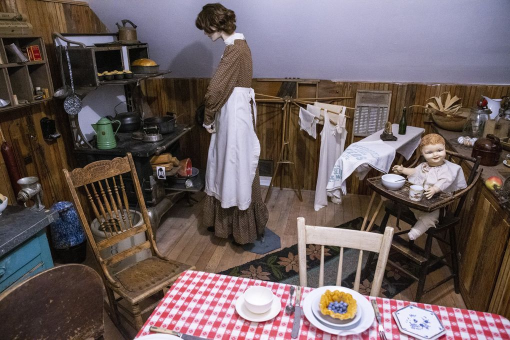 A gallery room featuring a kitchen scene from the 1880s on the second floor of Foothills Historical Museum in Buckley, Pierce County. (Amanda Snyder / The Seattle Times)