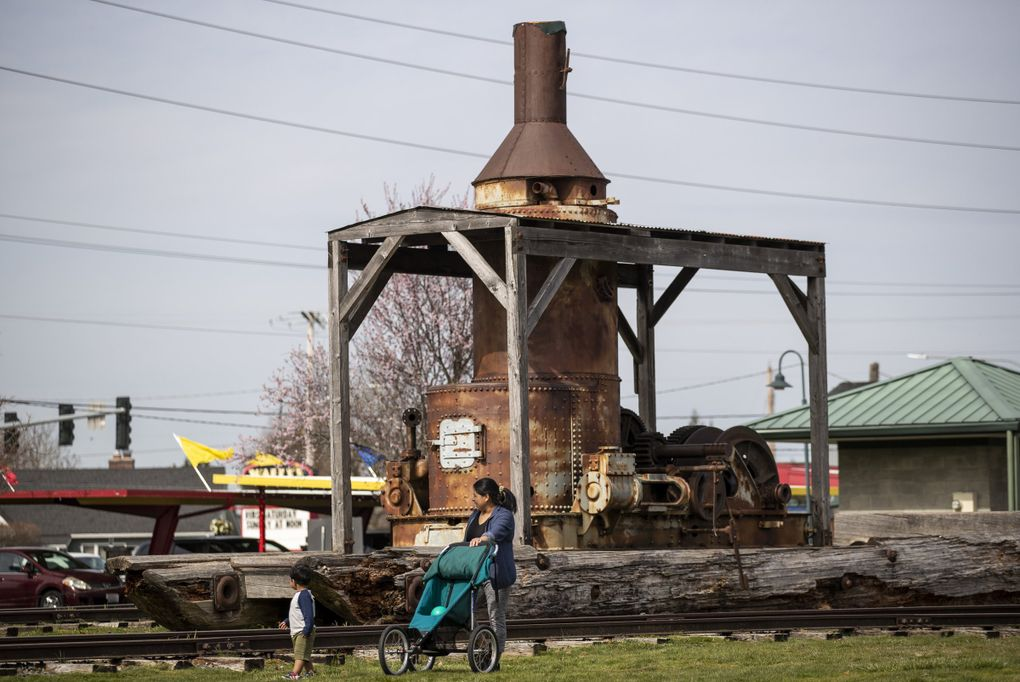 Across the street and part of the Foothills Historical Museum in Buckley, there's an old steam donkey (a logging winch powered by steam). (Amanda Snyder / The Seattle Times)