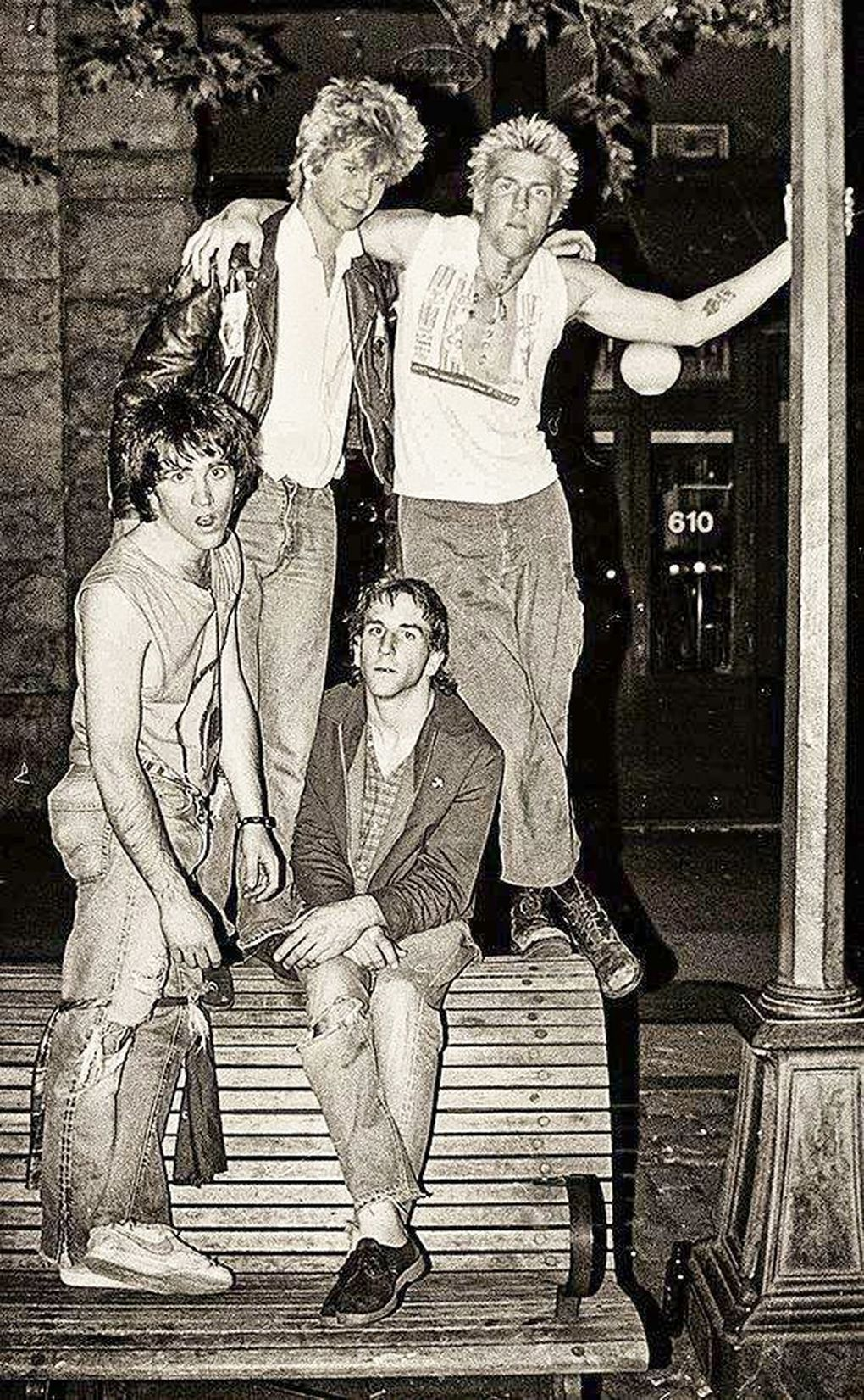 The Living in Pioneer Square in 1982. Clockwise from top left: Duff McKagan, Todd Fleischman, Greg Gilmore, John Conte. (Marty Perez)
