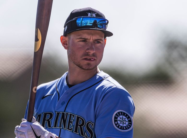 Jarred Kelenic heads to the batting cage during  Mariners spring training. February 23, 2021, in Peoria, AZ. (Dean Rutz / The Seattle Times)
