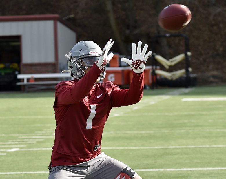 Travell Harris at first day of WSU spring football camp, Thursday April 1, 2021. ( / WSU Athletics)