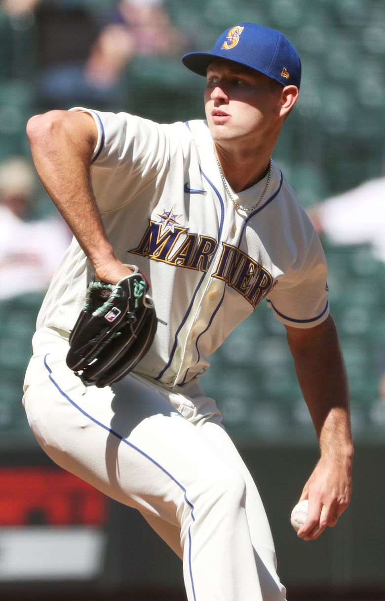 Mariners starting pitcher Nick Margevicius started on the mound against the Astros April 18, 2021 at T-Mobile Park in Seattle. (Ken Lambert / The Seattle Times)
