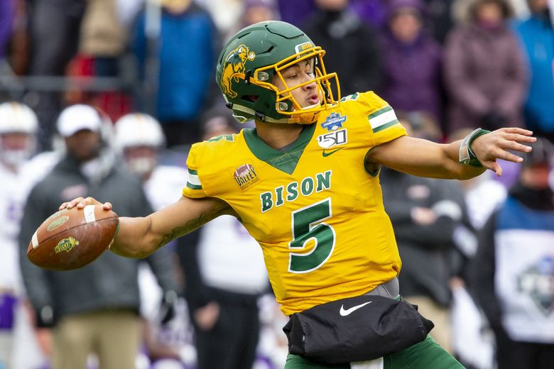 North Dakota State quarterback Trey Lance winds up to throw during the FCS championship NCAA game against James Madison in Frisco, Texas, Jan. 11, 2020. Lance was picked third overall in the NFL Draft by the San Francisco 49ers Thursday, April 29, 2021 in Cleveland. (Sam Hodde / AP, file)