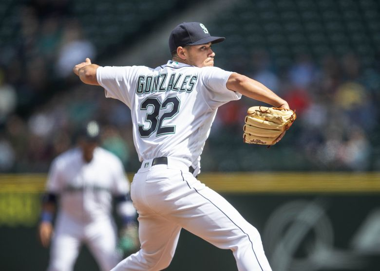 Marco Gonzalez pitches against the Houston Astros Thursday, April 19, 2018 at Safeco Field in Seattle. Mariners manager Scott Servais announced that Gonzales was being placed on the 10-day injured list because of a left-forearm strain. (Dean Rutz / The Seattle Times)