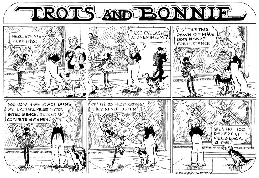 """""""Trots and Bonnie,"""" a Seattle-set cartoon created by Magnolia resident Shary Flenniken, was a hit for National Lampoon in the 1970s and '80s. This strip is from 1972. (Courtesy of New York Review of Books)"""