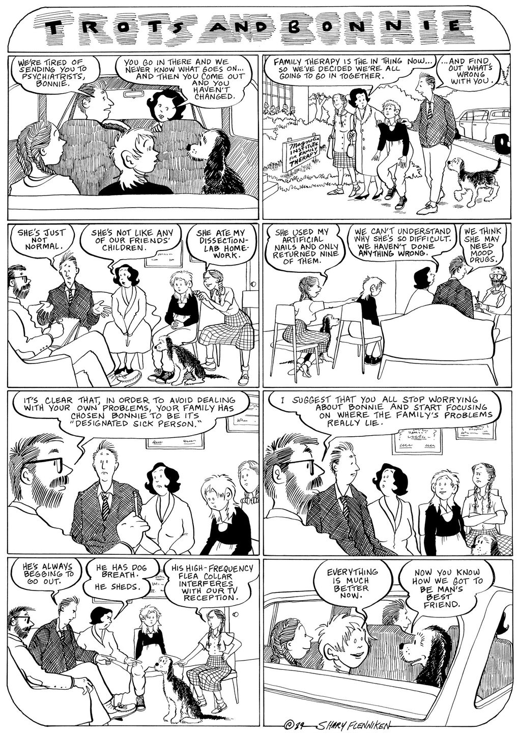 """Bonnie's family heads to therapy in this 1989 strip of the irreverent, poignant Seattle-based comic """"Trots and Bonnie."""" (Courtesy of New York Review of Books)"""