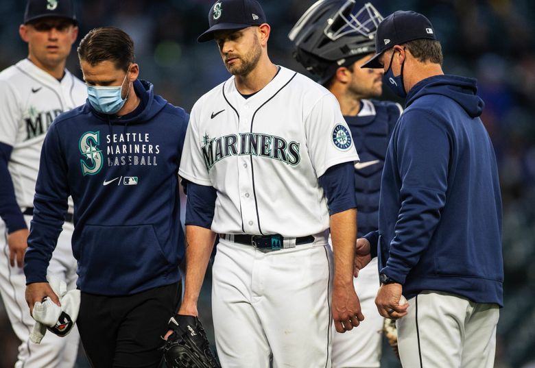 A disappointed James Paxton leaves the game in the second inning against the White Sox with an injury.  The Chicago White Sox played the Seattle Mariners Tuesday, April 6, 2021 at T-Mobile Park in Seattle. (Dean Rutz / The Seattle Times)