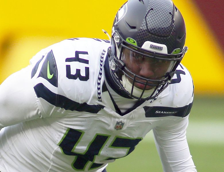 Seahawks defensive end Carlos Dunlap (43) in action during an NFL football game against the Washington Football Team, Sunday, Dec. 20, 2020 in Landover, Md. (Daniel Kucin Jr. / The Associated Press)
