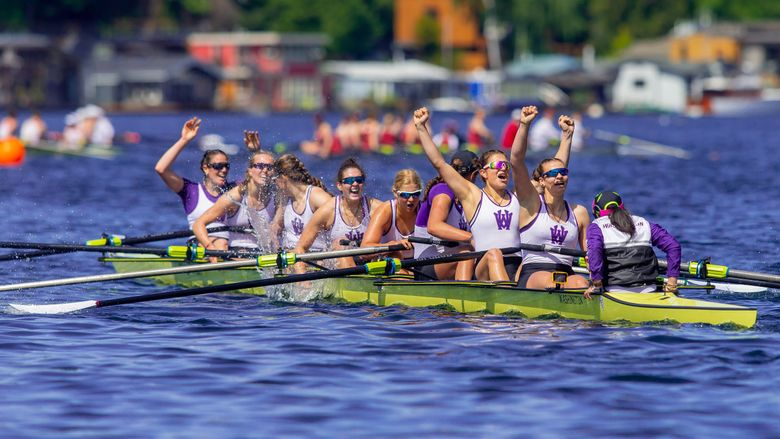 The University of Washington men's & women's rowing teams won both of their races in the Windermere Cup held on Lake Washington and the Montlake Cut in Seattle  on May 4, 2019.   (Scott Eklund / Red Box Pictures)