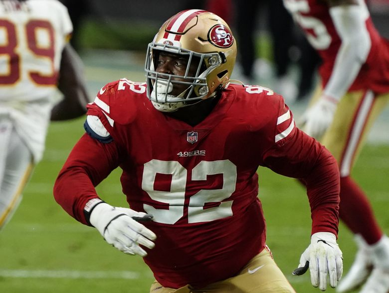 San Francisco 49ers defensive end Kerry Hyder (92) during an NFL football game against the Washington Football Team, Sunday, Dec. 13, 2020, in Glendale, Ariz. (Rick Scuteri / AP)