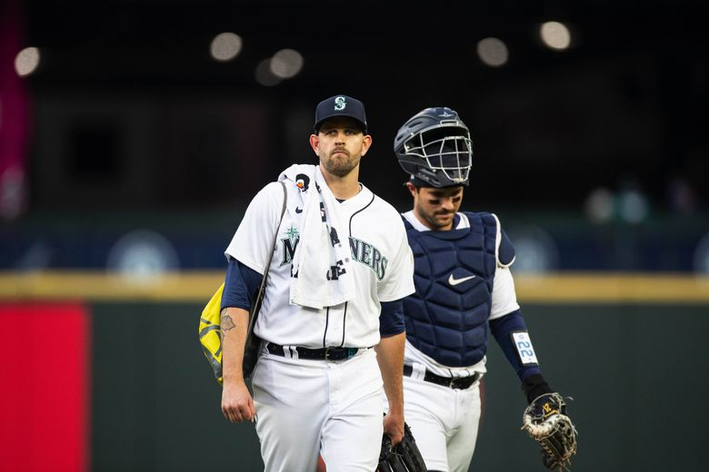 James Paxton and catcher Luis Torrens come out for Paxton's first start of the season Tuesday.  The Chicago White Sox played the Seattle Mariners Tuesday, April 6, 2021 at T-Mobile Park. (Dean Rutz / The Seattle Times)