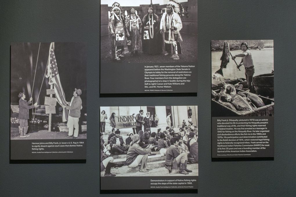 """Case studies of local communities impacted by systemic racism are displayed in MOHAI's """"Stand Up Seattle: The Democracy Project"""" exhibit. (Courtesy of MOHAI)"""