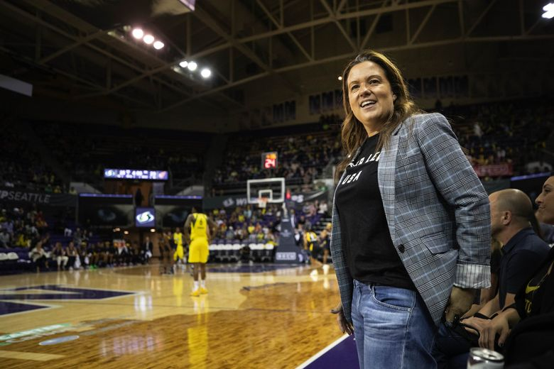 Storm President and General Manager Alisha Valavanis reacts to a foul call that goes against the Storm in the 2nd quarter.  The Indiana Fever played the Seattle Storm in WNBA action Sunday, June 23, 2019 at Alaska Airlines Arena in Seattle, WA. (Dean Rutz / The Seattle Times)