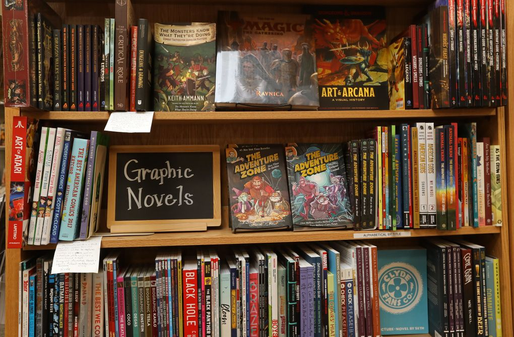Highlighted selections at Brick & Mortar Books in Redmond. (Ken Lambert / The Seattle Times)