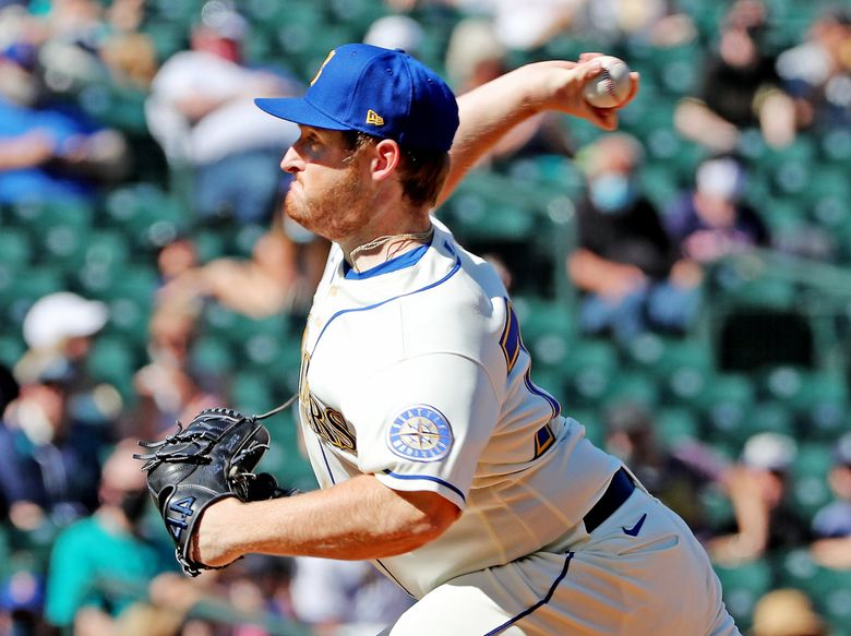 Mariners reliever Ljay Newsome pitched two innings to get the win against the Astros, Sunday, April 18, 2021 at T-Mobile Park in Seattle.  (Ken Lambert / The Seattle Times)