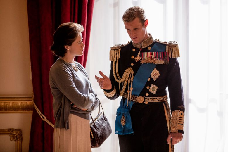 """Claire Foy and Matt Smith appear in """"The Crown"""" as Queen Elizabeth and Prince Philip. (Robert Viglasky/Netflix)."""
