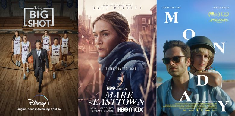 """This combination photo shows promotional art for """"Big Shot,"""" premiering April 16 on Disney Plus, left, Mare of Easttown,"""" a limited series premiering April 18 on HBO Max and """"Monday,"""" and IFC Film premiering April 16. (Disney+/HBO/IFC Films via AP)"""