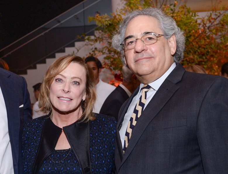 """FILE –  Fox Searchlight co-presidents Nancy Utley, left, and Steve Gilula attend the after-party for """"He Named Me Malala"""" in New York on Sept. 24, 2015. Utley and Steve Gilula who in their two decades at Searchlight Pictures oversaw the releases of major hits including """"Juno,"""" """"Slumdog Millionaire,"""" """"Little Miss Sunshine"""" and """"The Grand Budapest Hotel"""" are retiring. (Photo by Evan Agostini/Invision/AP, File)"""