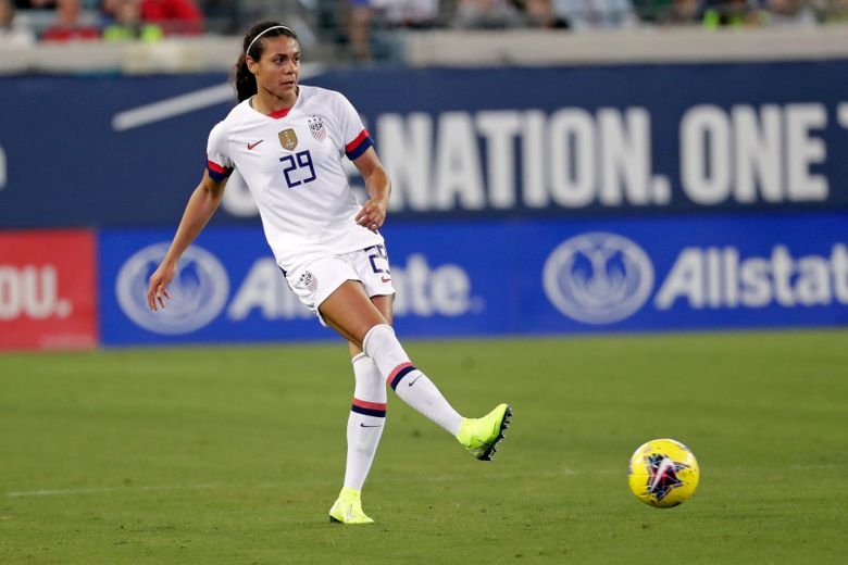 FILE  – In this Sunday, Nov. 10, 2019 file photo, United States defender Alana Cook (29) passes the ball during the first half of an international friendly soccer match against Costa Rica, in Jacksonville, Fla.  Cook joined an exclusive club when she nodded in a goal for Paris Saint-Germain against Barcelona on Sunday, April 25, 2021. Megan Rapinoe, Christen Press and Carli Lloyd are the only other American internationals to have scored at the semifinals or finals of the Women's Champions League. (AP Photo/John Raoux, File)