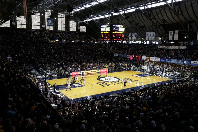 FILE – Hinkle Fieldhouse is shown in the second half of an NCAA college basketball game between Butler and Marquette in Indianapolis, in this Jan. 18, 2014, file photo. Hinkle Fieldhouse is one of six venues hosting NCAA Tournament games later this week. (AP Photo/Michael Conroy, File)