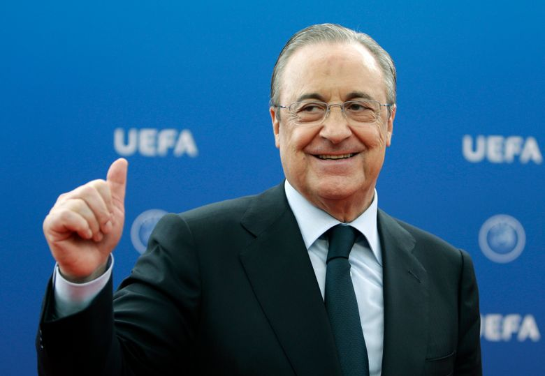 FILE – In this file photo dated Thursday, Aug. 30, 2018, Real Madrid President Florentino Perez gives a thumbs up as he arrives for the UEFA Champions League draw at the Grimaldi Forum, in Monaco. Perez says the Super League is being created now to save soccer amid the coronavirus pandemic, but the idea of the new elite league has existed way before the pandemic ever hit and he has been behind it from the start. (AP Photo/Claude Paris, File)
