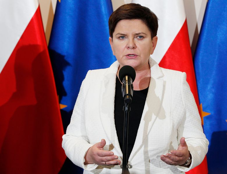 """FILE – In this Thursday, April 18, 2019 file photo, Poland's Deputy Prime Minister Beata Szydlo speaks to reporters in Warsaw, Poland. Relatives of former Polish Auschwitz prisoners are protesting the appointment of a top member of the country's right-wing ruling party to an advisory council at the state-run Auschwitz-Birkenau museum in Poland. They argue that the former prime minster, Beata Szydlo, has tolerated """"openly fascist"""" groups and supported attempts to stifle research into the Holocaust.  (AP Photo/Czarek Sokolowski, file)"""