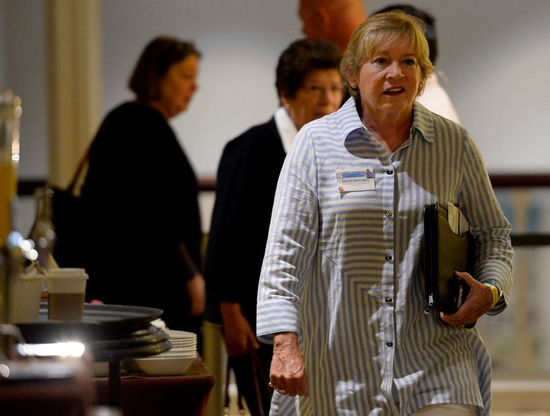 FILE – University of North Carolina women's basketball coach Sylvia Hatchell arrives at an NCAA hearing in Nashville, Tenn., in this Wednesday, Aug. 16, 2017, file photo. Former University of North Carolina at Chapel Hill women's basketball coach Sylvia Hatchell has appealed her plea in a fatal traffic accident and received a more lenient sentence that will allow her to still drive. (AP Photo/Mark Zaleski, File)