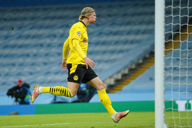 Dortmund's Erling Haaland is dejected after missing an opportunity to score during the Champions League, first leg, quarterfinal soccer match between Manchester City and Borussia Dortmund at the Etihad stadium in Manchester, Tuesday, April 6, 2021. (AP Photo/Dave Thompson)