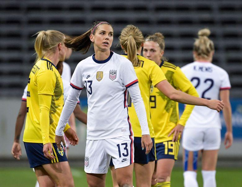 USA's Alex Morgan looks on, after the women's international friendly soccer match between Sweden and USA at Friends Arena in Stockholm, Sweden, Saturday, April 10, 2021. (Janerik Henriksson/TT via AP)