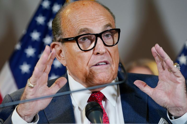 Former New York Mayor Rudy Giuliani speaks in November during a news conference at the Republican National Committee headquarters in Washington. Federal agents raided Giuliani's Manhattan home and office on Wednesday, April 28, 2021, seizing computers and cellphones in a major escalation of the Justice Department's investigation into the business dealings of former President Donald Trump's personal lawyer. (AP Photo/Jacquelyn Martin, File)