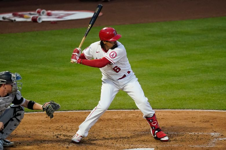 Los Angeles Angels' Anthony Rendon (6) steps up to bat during the third inning of a baseball game against the Chicago White Sox Saturday, April 3, 2021, in Anaheim, Calif. (AP Photo/Ashley Landis)