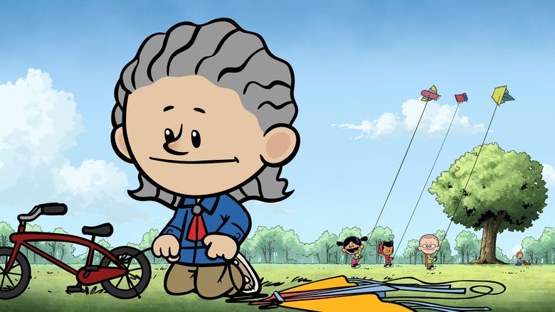 """This image released by PBS Kids shows an animated Temple Grandin, foreground, as other characters Yadina, from background left, Xavier and Brad fly kites in a scene from """"Xavier Riddle and the Secret Museum."""" The episode, premiering on April 5, is one of several ways PBS Kids is shining a spotlight on characters with autism during Autism Awareness Month. (PBS Kids via AP)"""