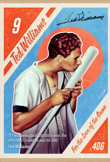 This image created by Brazilian illustrator Andre Maciel, known as Black Madre, provided by Leighton Communications, Inc., shows a copy of one of the nine non-fungible token cards of baseball Hall of Famer Ted Williams to go on auction April 19-24, 2021. Non-fungible tokens can be works of art, video clips or even tweets or news articles tied to a digital record — or blockchain — that allows the collector to prove ownership. (Leighton Communications, Inc. via AP)
