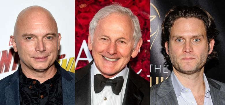 """This combination of photos shows actors, from left, Michael Cerveris, Victor Garber and Steven Pasquale, who will participate in the dark musical """"Assassins,"""" for a streaming fundraising event. Cast members of the show's 1990 world premiere will join with the 2004 Tony-winning revival, as well as the cast of the upcoming Classic Stage Company production for an hour-long filmed program on April 15 that mixes memories and music, exploring the show from the actors' points of view. (AP Photo)"""