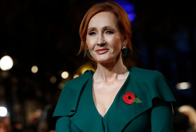 """FILE – Author J.K. Rowling appears at the world premiere of the film """"Fantastic Beasts: The Crimes of Grindelwald"""" in Paris on Nov. 8, 2018.  Scholastic announced Tuesday that Rowling's """"The Christmas Pig,"""" the story of a boy named Jack and a beloved toy (Dur Pig) which goes missing, will be released worldwide Oct. 12. (AP Photo/Christophe Ena, File)"""