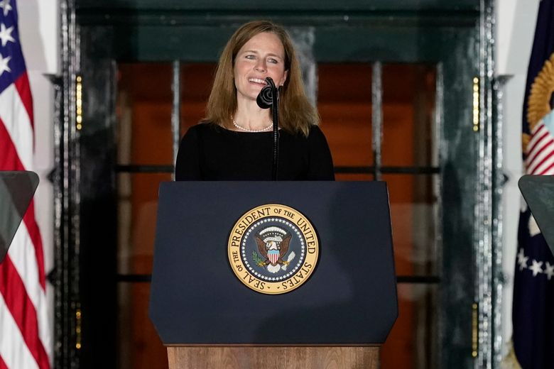 FILE – Amy Coney Barrett speaks on the South Lawn of the White House in Washington, Monday, Oct. 26, 2020.  Barrett has a book deal with a Penguin Random House imprint, The Associated Press has learned. Adrian Zackheim, who runs the conservative Sentinel imprint, confirmed Monday, April 19, 2021 that he has an agreement with Barrett, who last fall was approved by the Republican-led Senate to joint the court just weeks after the death of Justice Ruth Bader Ginsburg. (AP Photo/Alex Brandon, file)