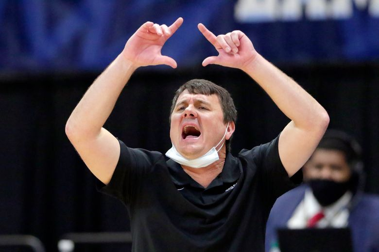 FILE – In this March 12, 2021, file photo, Abilene Christian head coach Joe Golding reacts during the second half of an NCAA college basketball game against Lamar in the semifinals of the Southland Conference tournament in Katy, Texas. Golding has been named the new coach at UTEP after a decade at Abilene Christian that included an upset victory for the Wildcats in the first round of this season's NCAA Tournament.   (AP Photo/Michael Wyke, File)