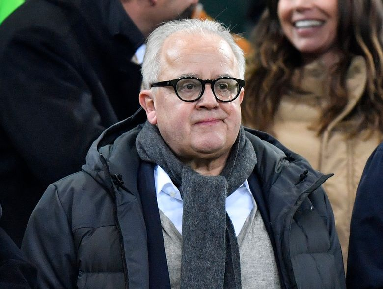 """FILE – In this Saturday, Nov. 16, 2019 file photo, German football federation, DFB, president Fritz Keller stands on the tribune prior the Euro 2020 group C qualifying soccer match between Germany and Belarus in Moenchengladbach, Germany. Keller says he will not step down from his role after comparing his vice-president Rainer Koch to notorious Nazi judge Roland Freisler. He said Tuesday, April 27, 2021 he made a """"serious mistake"""" after making the remark about Koch at a meeting of the federation's presidium on Friday, but he stopped short of apologizing again. (AP Photo/Martin Meissner, file)"""